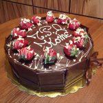 Торта с шоколадов мус и пресни ягоди